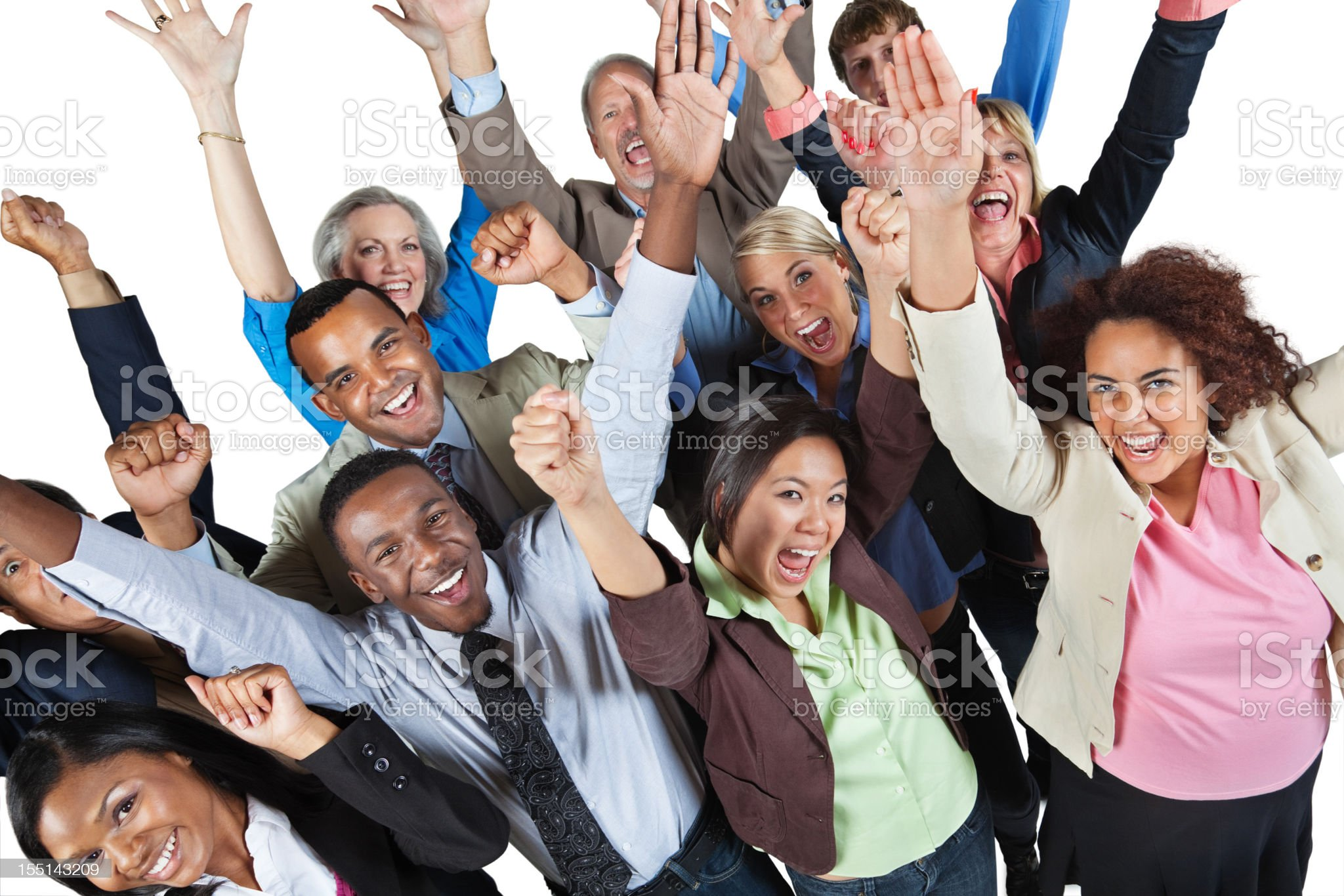 Excited group of business people with hands in the air royalty-free stock photo