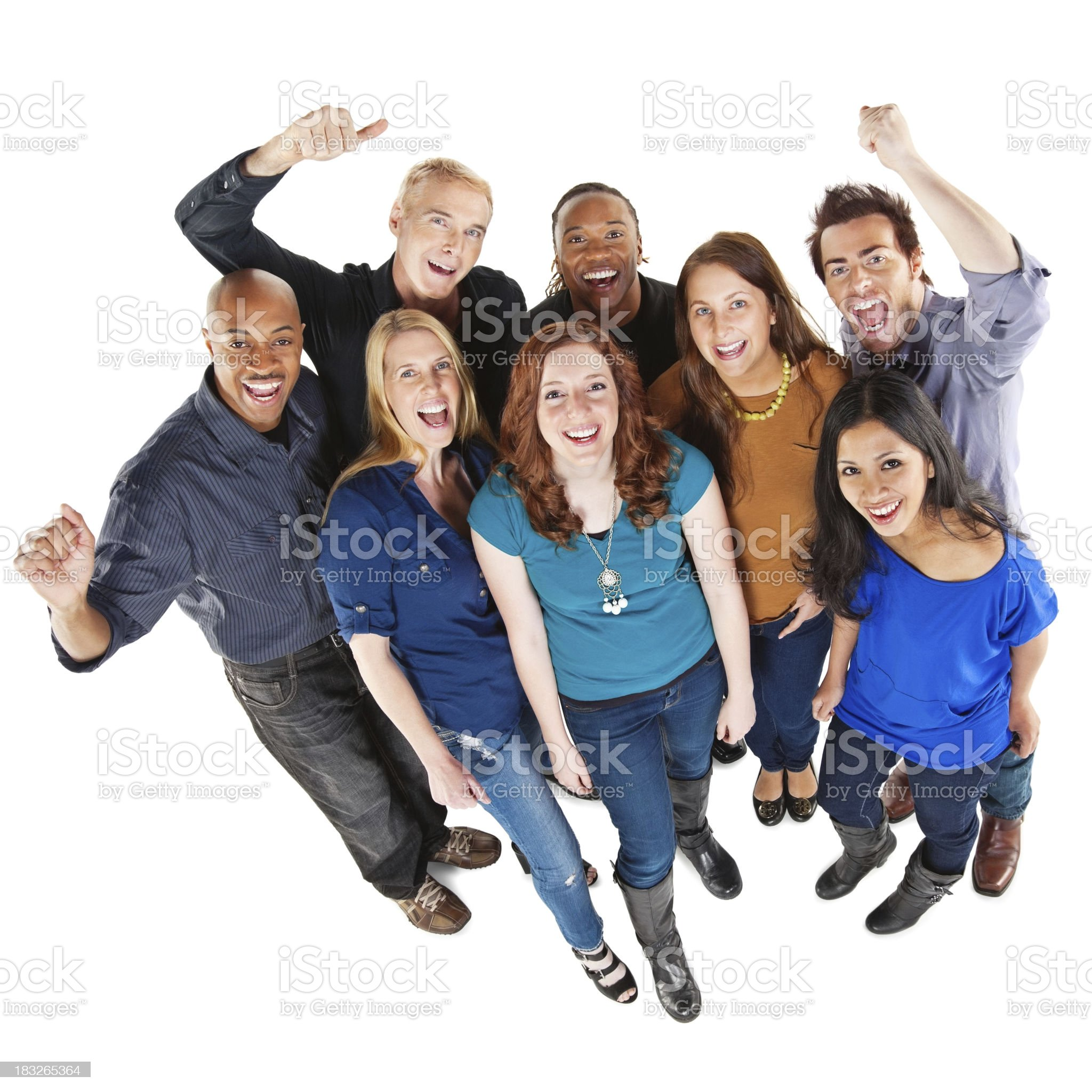Excited Group of People Looking Up, Full Body royalty-free stock photo