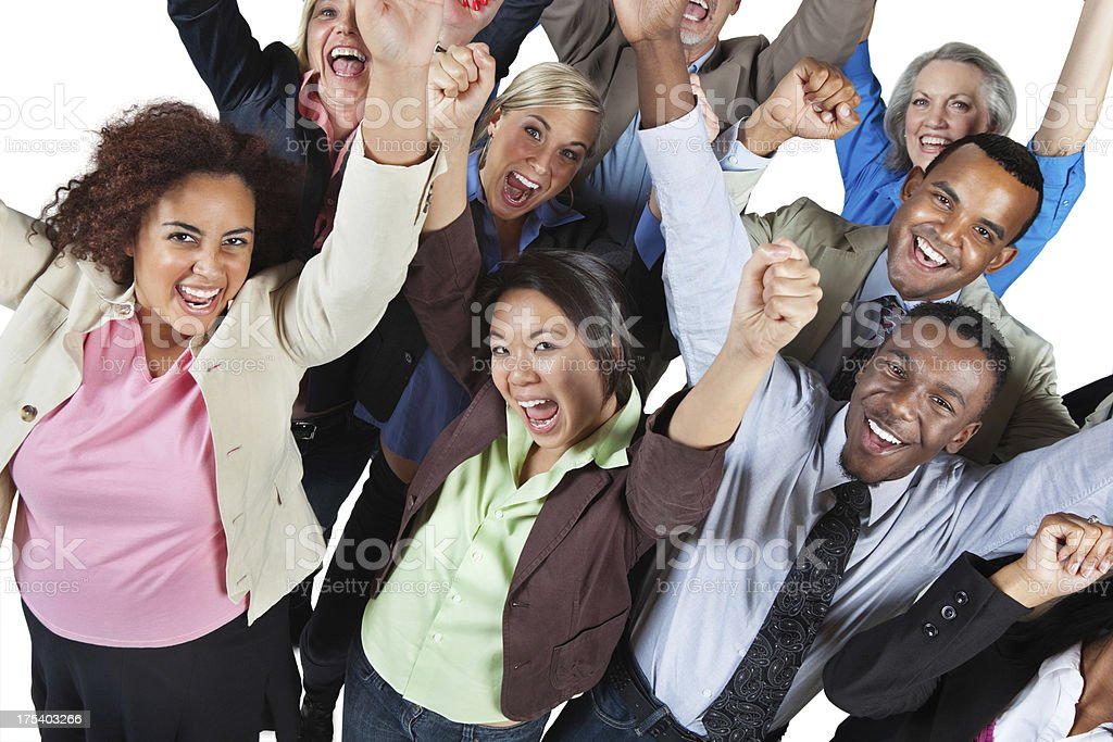 Excited group of people with their arms high royalty-free stock photo