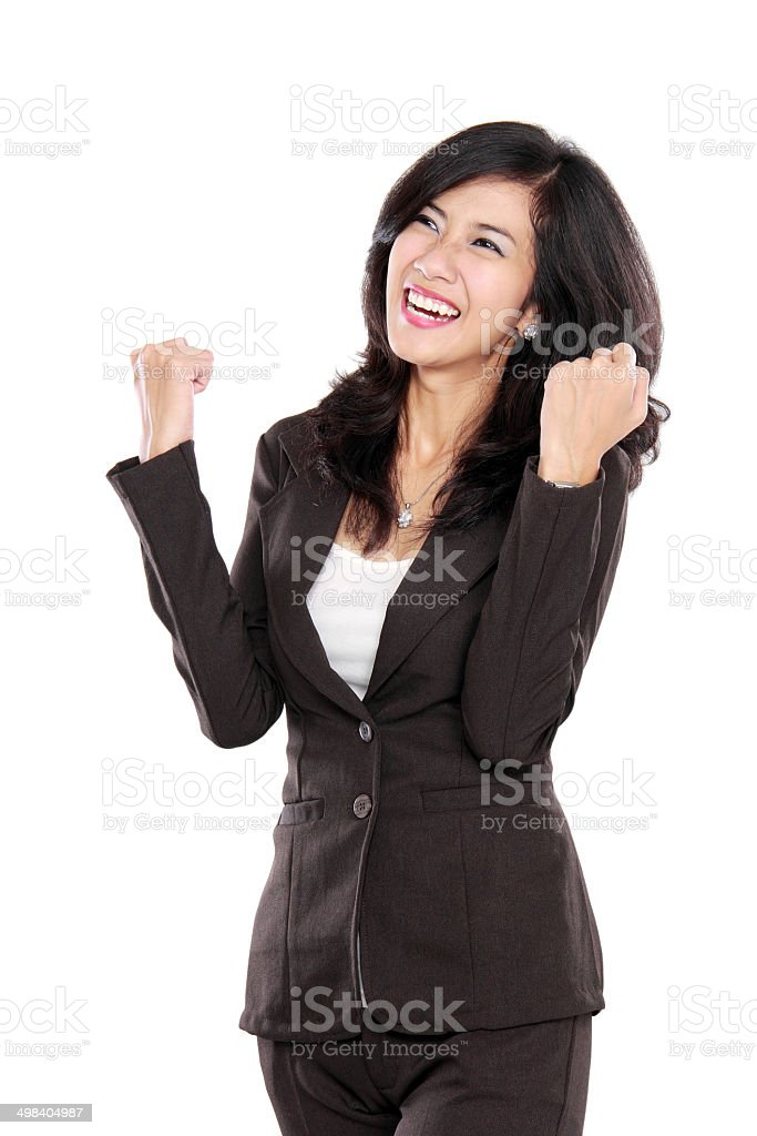 Excited happy asian business woman stock photo