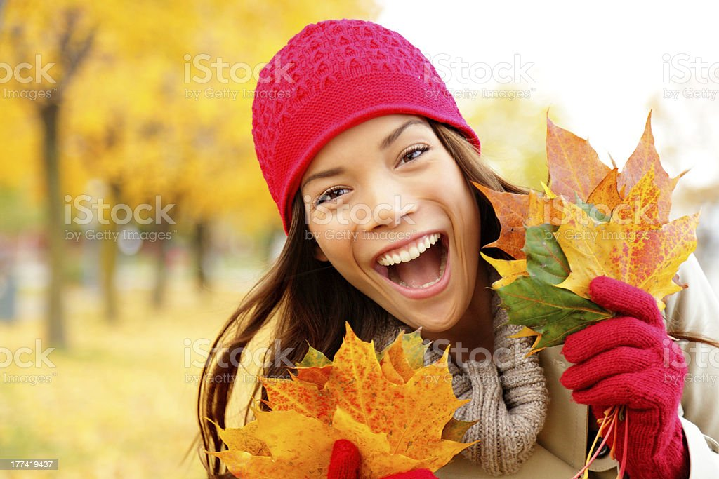 Excited happy fall woman royalty-free stock photo