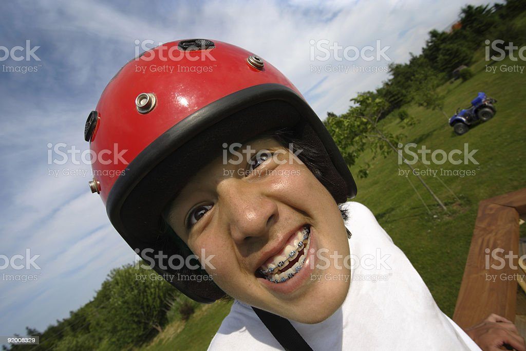 Excited helmet boy royalty-free stock photo