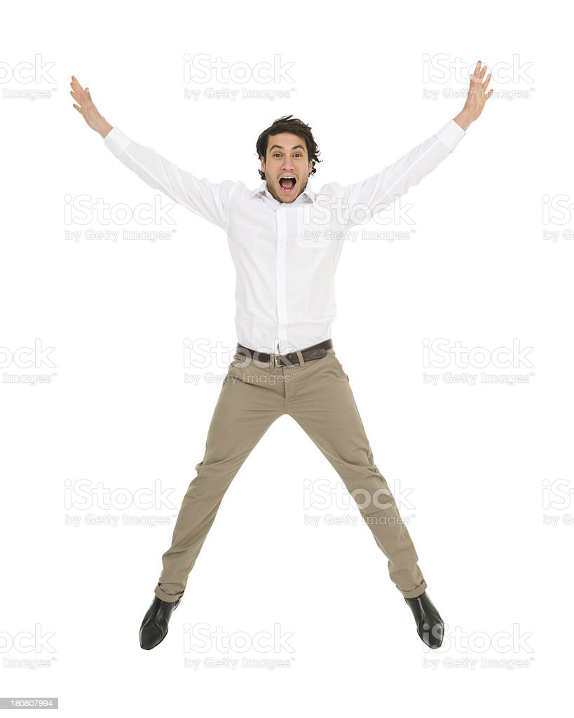 Excited Jumping Man royalty-free stock photo