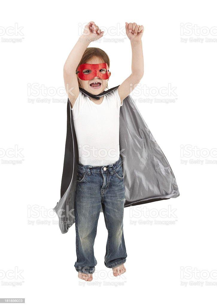 Excited Little Boy Superhero royalty-free stock photo