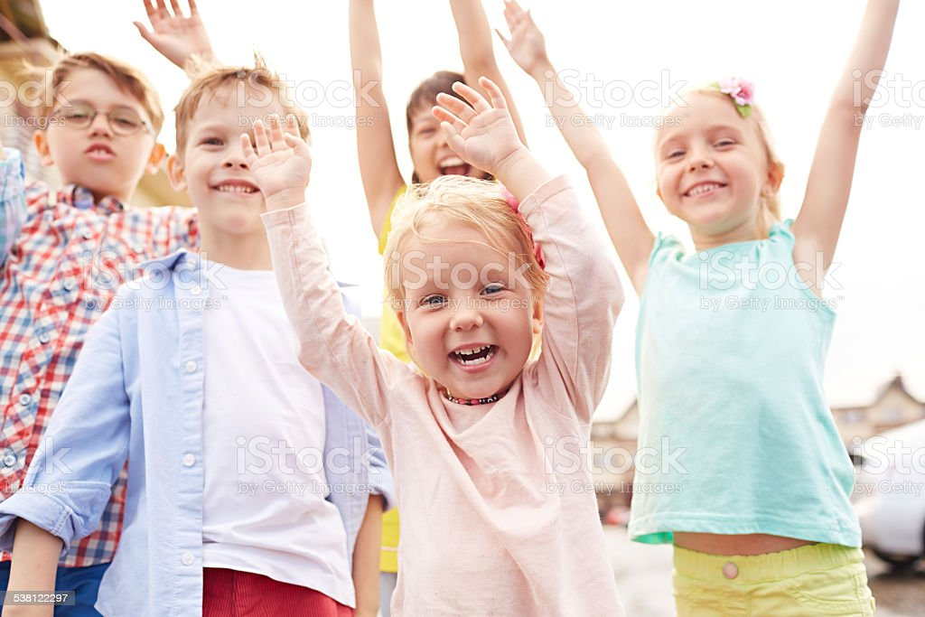 Excited little friends stock photo