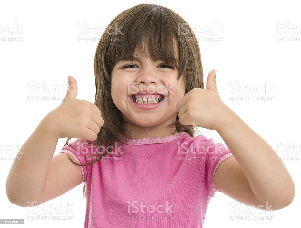 Excited Little Girl Gives Thumbs Up royalty-free stock photo