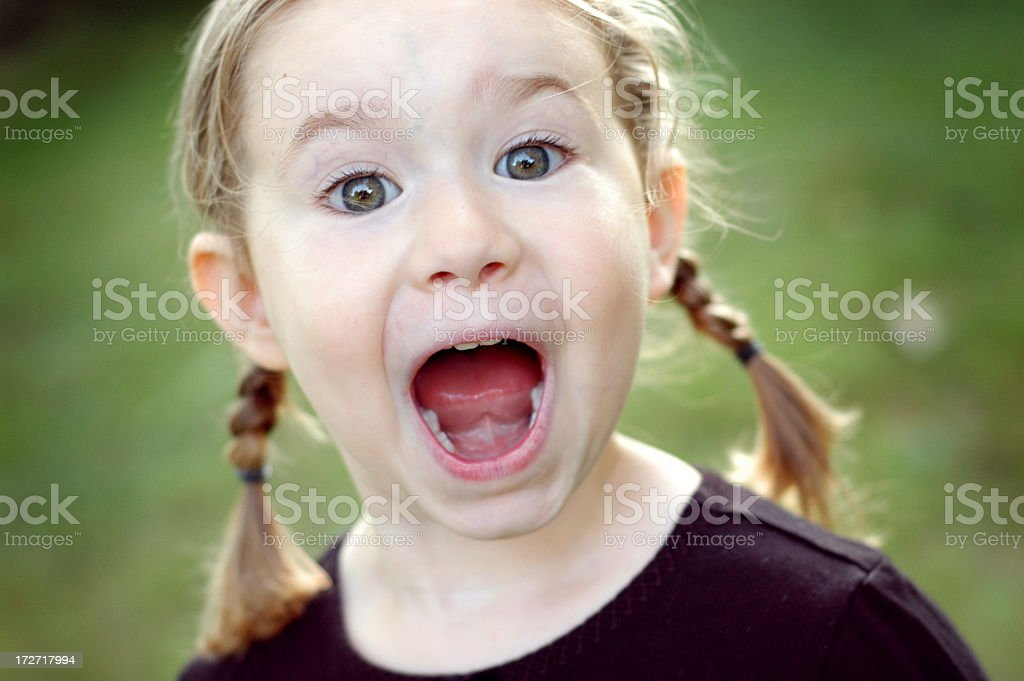 Excited Little Girl Outside royalty-free stock photo