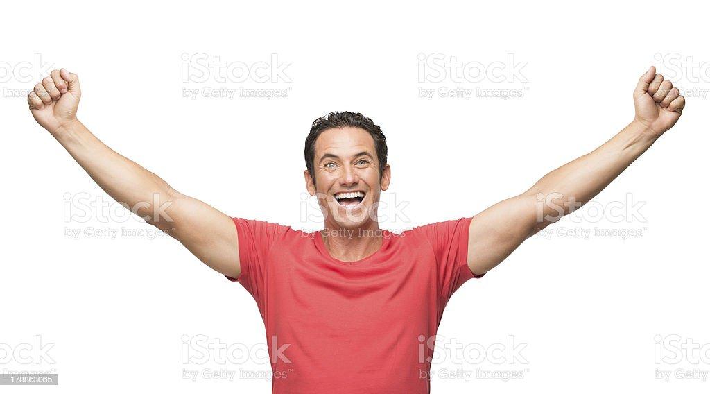 Excited man celebrating royalty-free stock photo