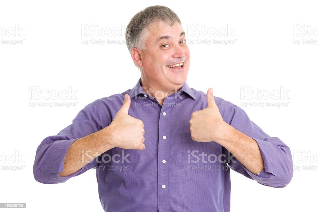Excited Man Gives Two Thumbs Up stock photo