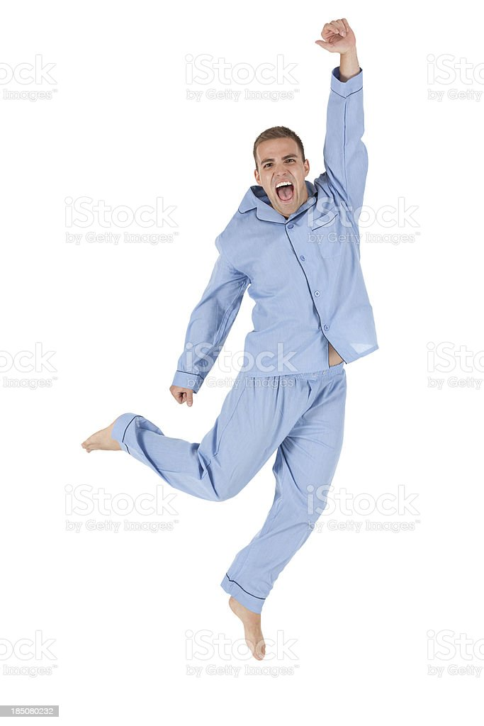 Excited man jumping stock photo
