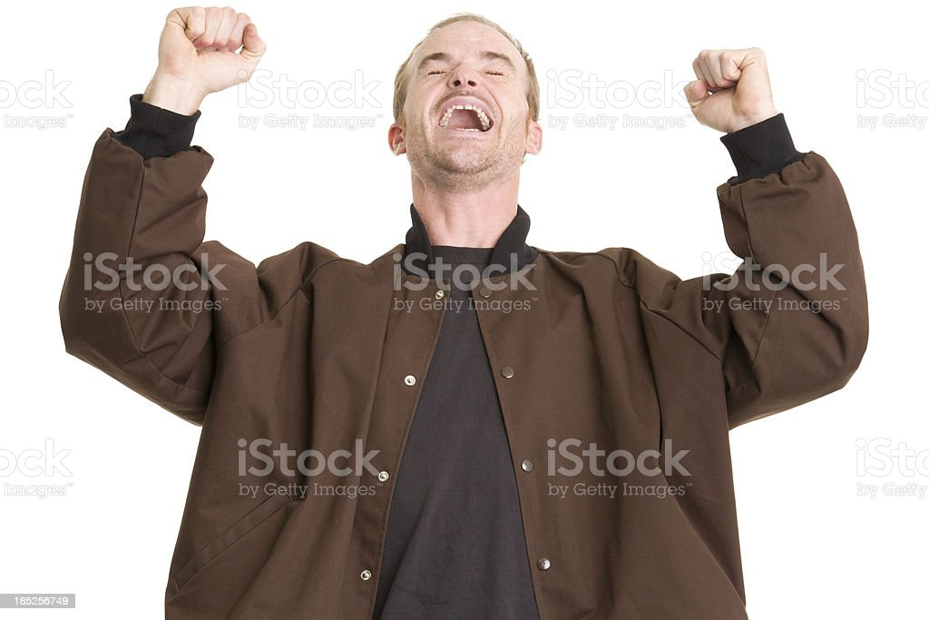 Excited Man Shaking Fists royalty-free stock photo
