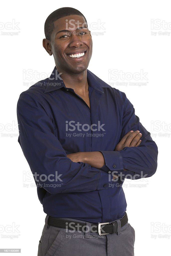 Excited Man Smiling With Arms Crossed royalty-free stock photo