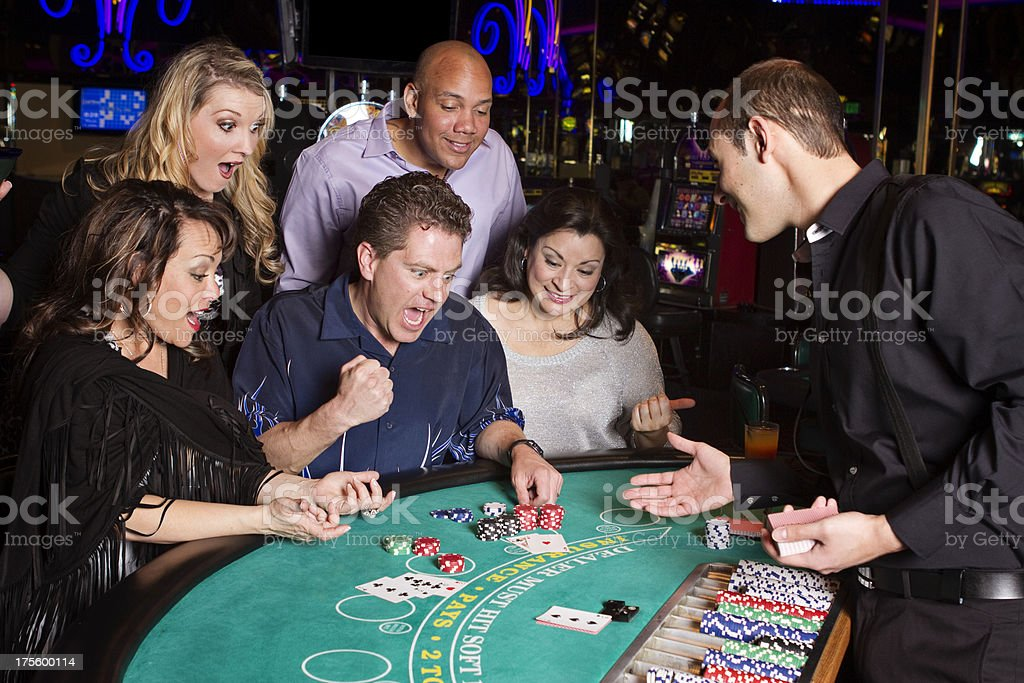 Excited Man With Blackjack Hand royalty-free stock photo