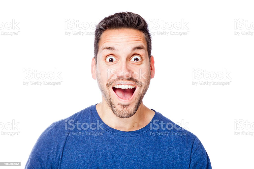 Excited man with open mouth and wide eyes stock photo