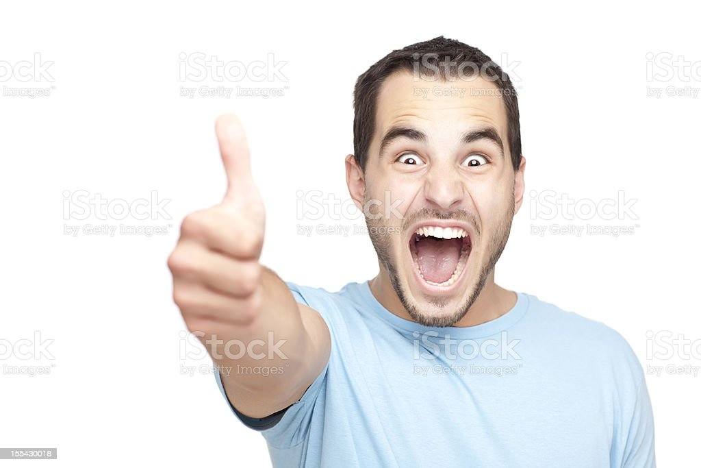Excited man with thumbs up. royalty-free stock photo