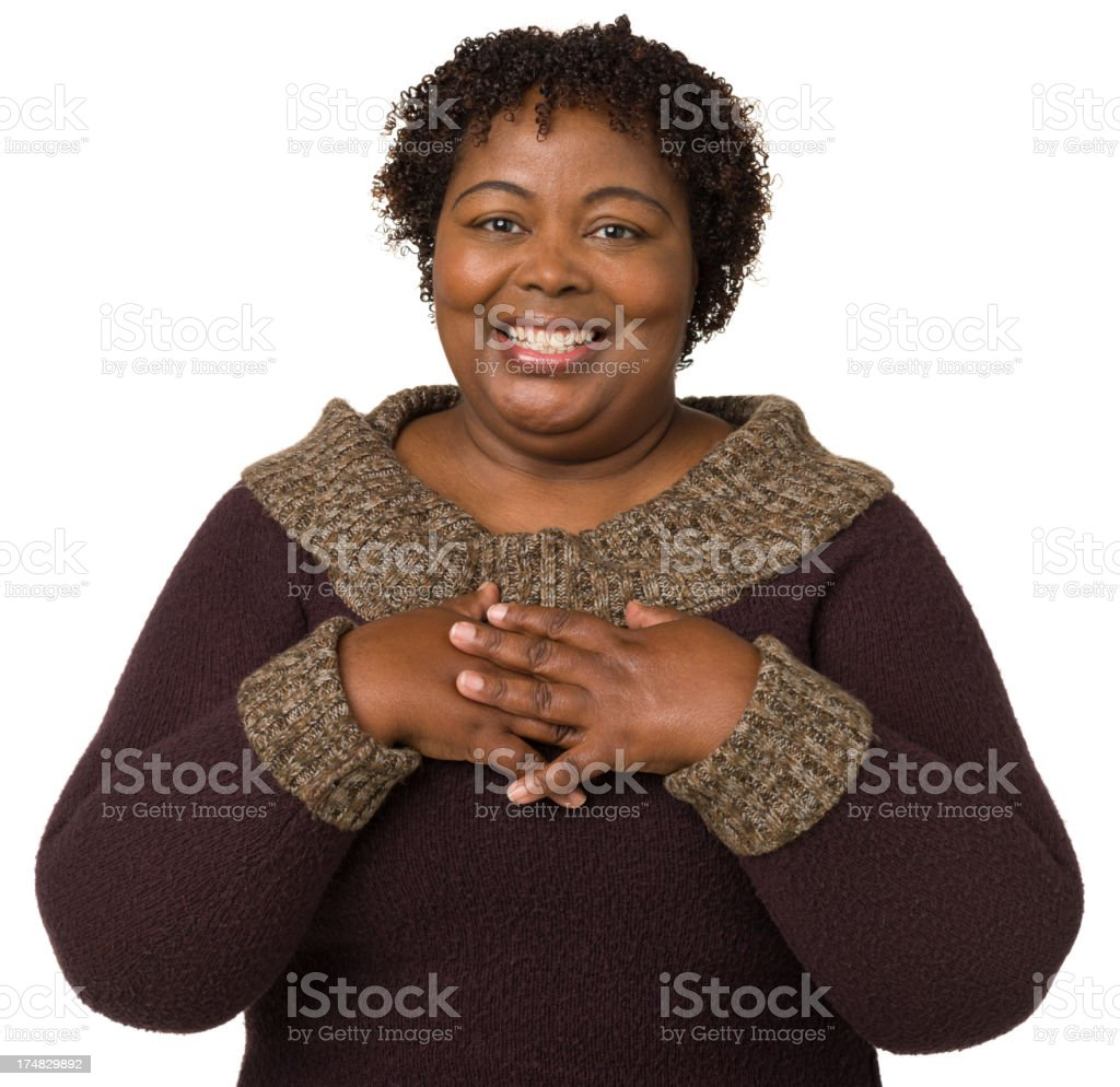 Excited Mature Woman Waist-up Portrait stock photo