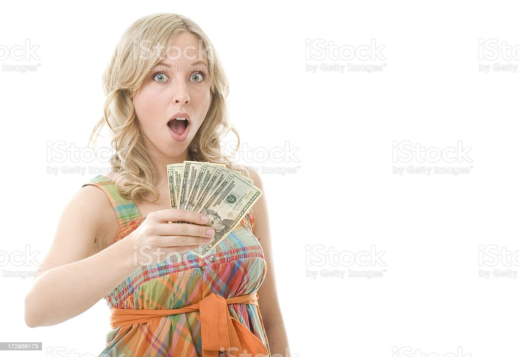 Excited Money Holder royalty-free stock photo