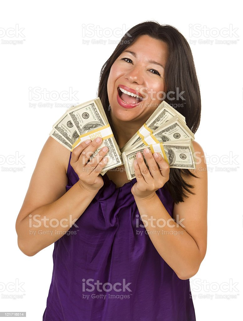 Excited Multiethnic Woman Holding Hundreds of Dollars stock photo