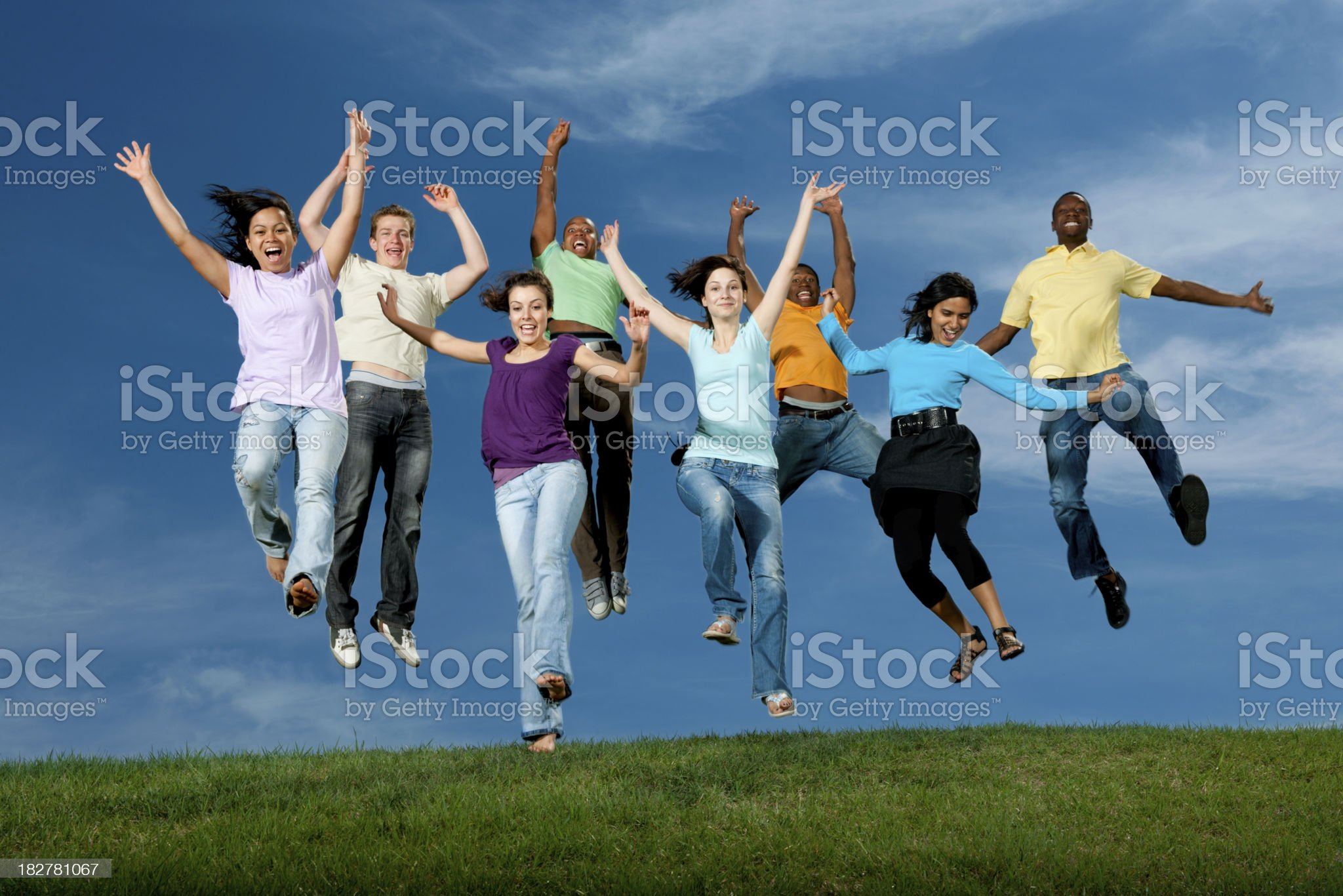 Excited mutli ethnic young adults royalty-free stock photo