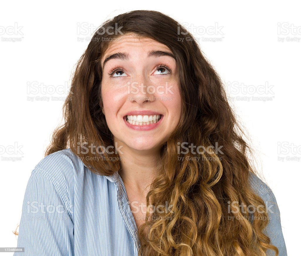 Excited Nervous Young Woman Looking Up royalty-free stock photo