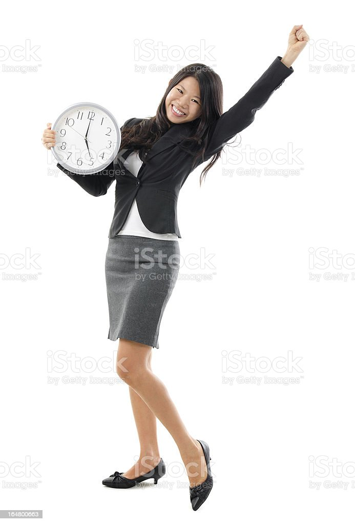 Excited Office Lady off work at 5pm. stock photo