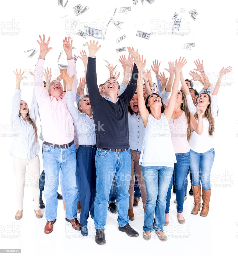 Excited people grabbing money stock photo