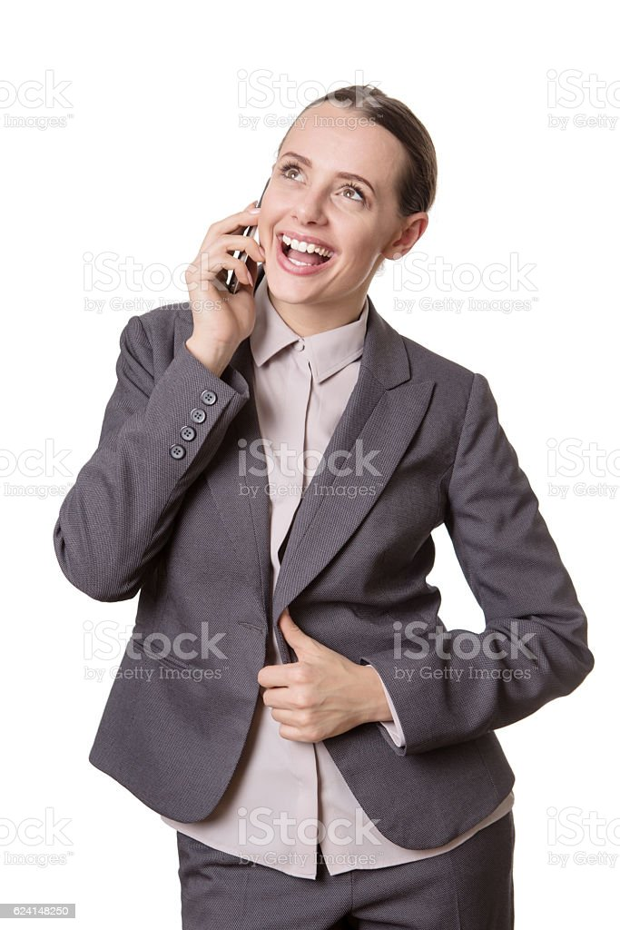 excited phone call stock photo