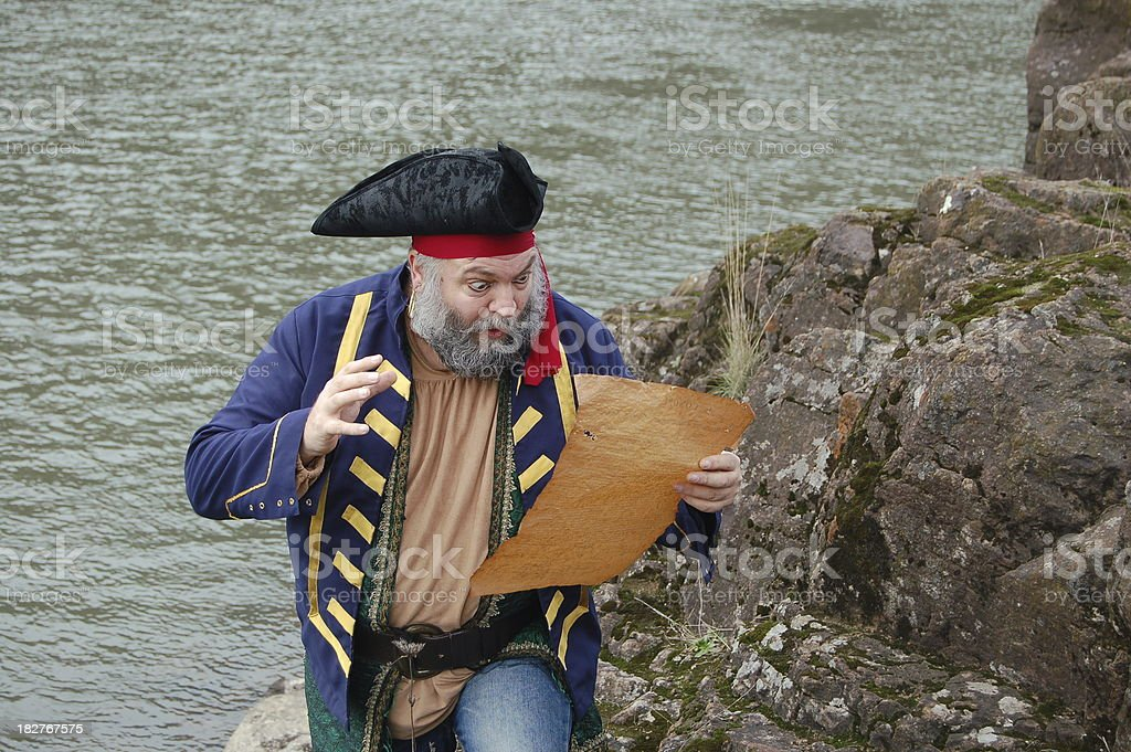 Excited Pirate With Map stock photo