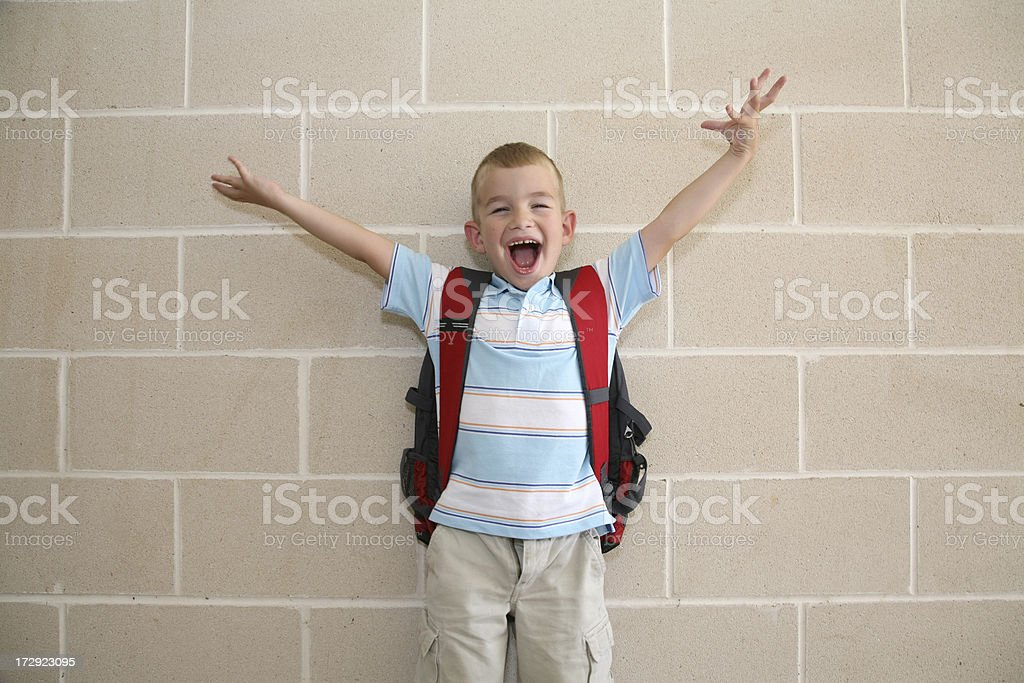 Excited School Boy With Hands In The Air royalty-free stock photo