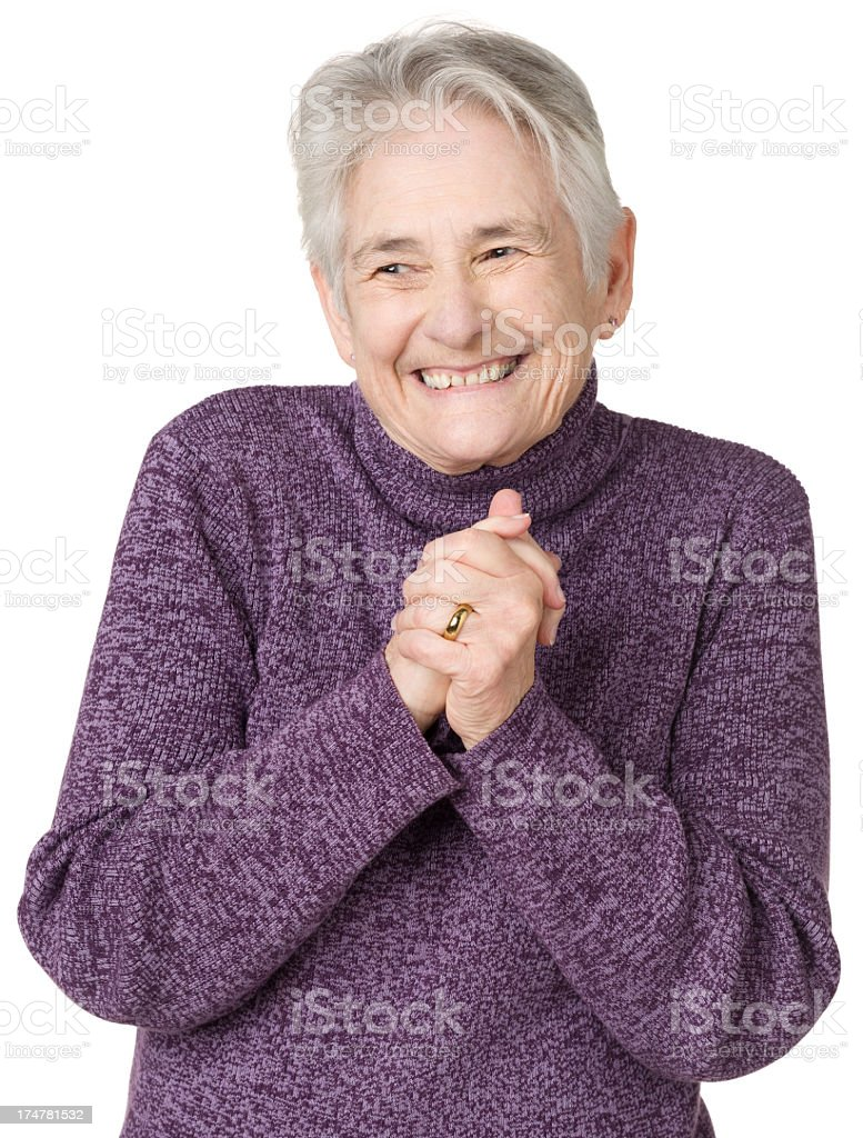 Excited Senior Woman Rubbing Hands Together royalty-free stock photo