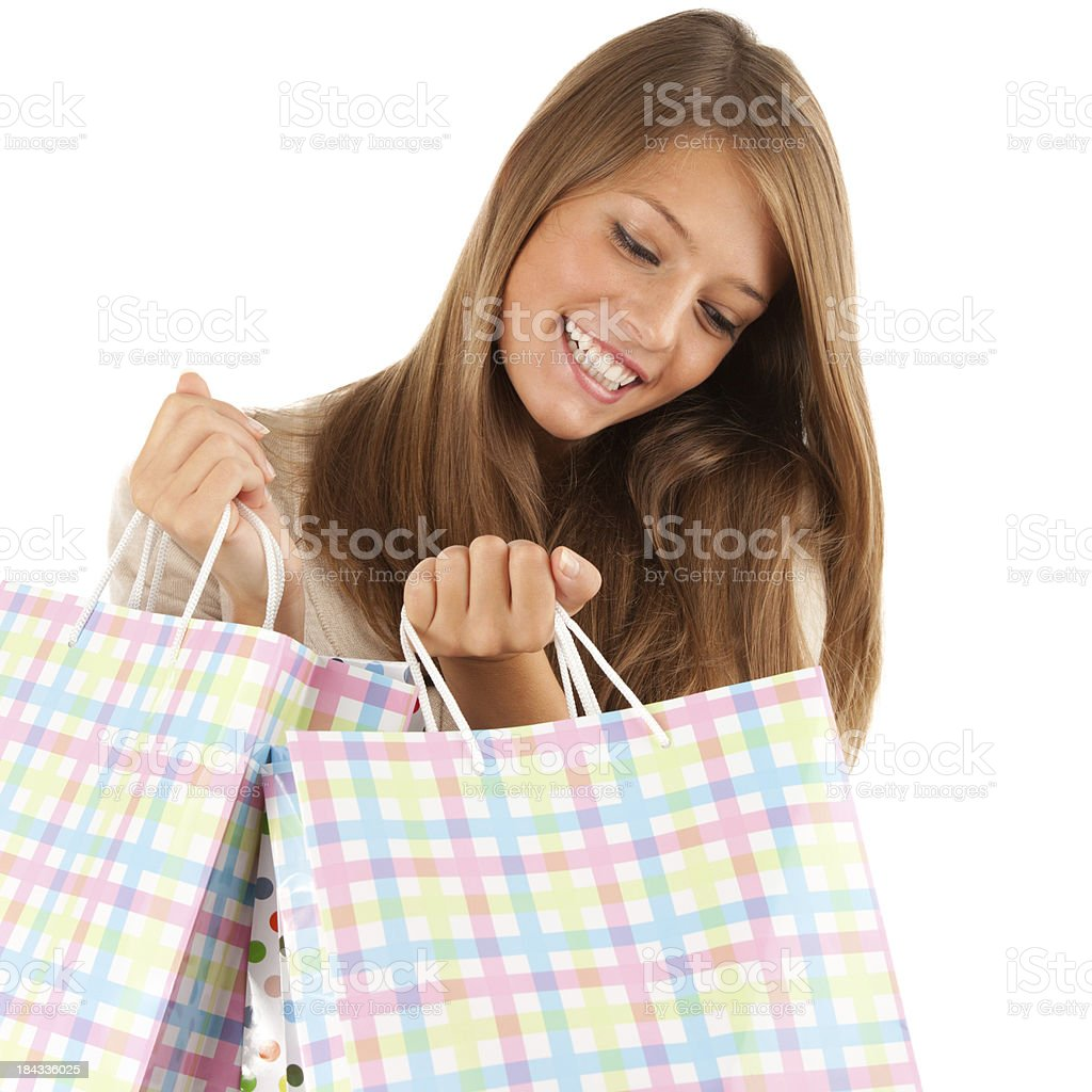Excited shopping girl royalty-free stock photo