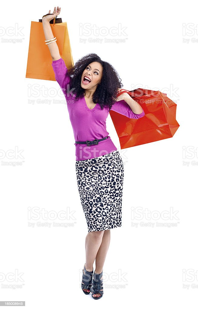 Excited shopping woman royalty-free stock photo