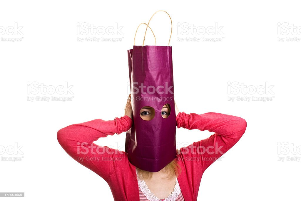 Excited Shopping Woman with bag et head isolated on white royalty-free stock photo