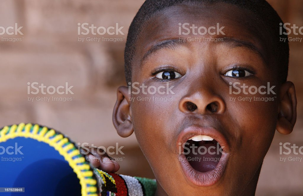Excited South African soccer fan royalty-free stock photo