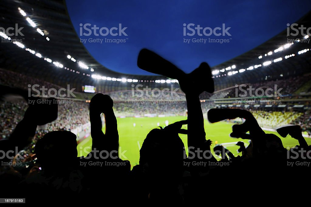 Excited sports fans in stadium stock photo