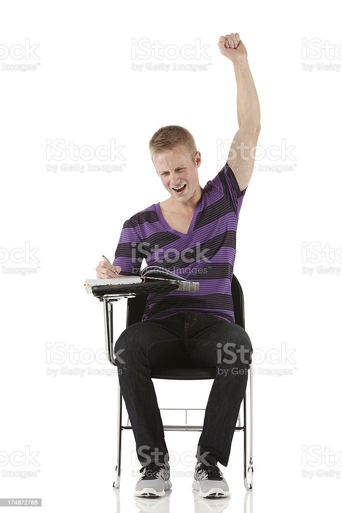 Excited student with hands raised royalty-free stock photo