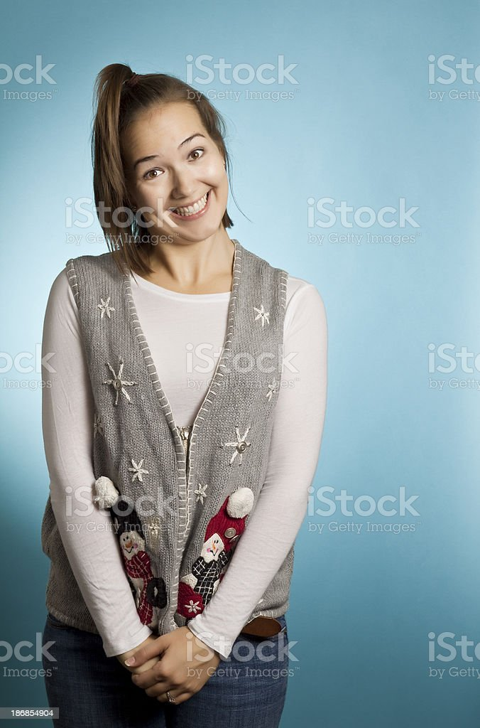 Excited Sweater Woman royalty-free stock photo