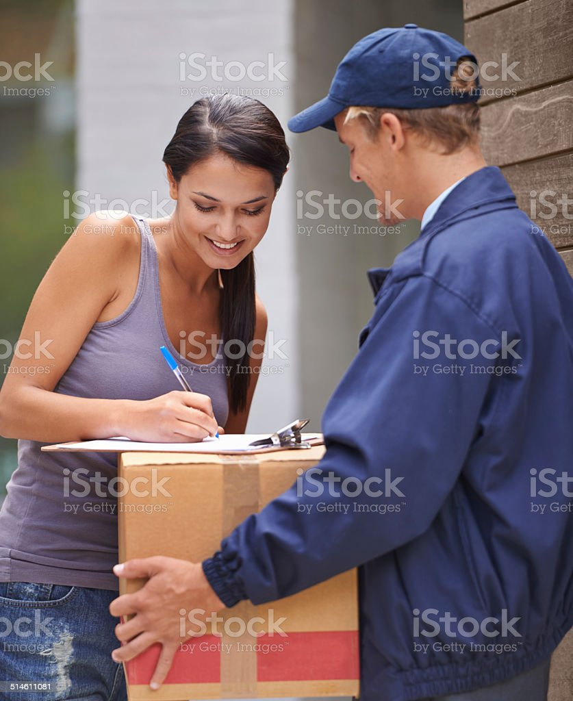 Excited to get her delivery stock photo
