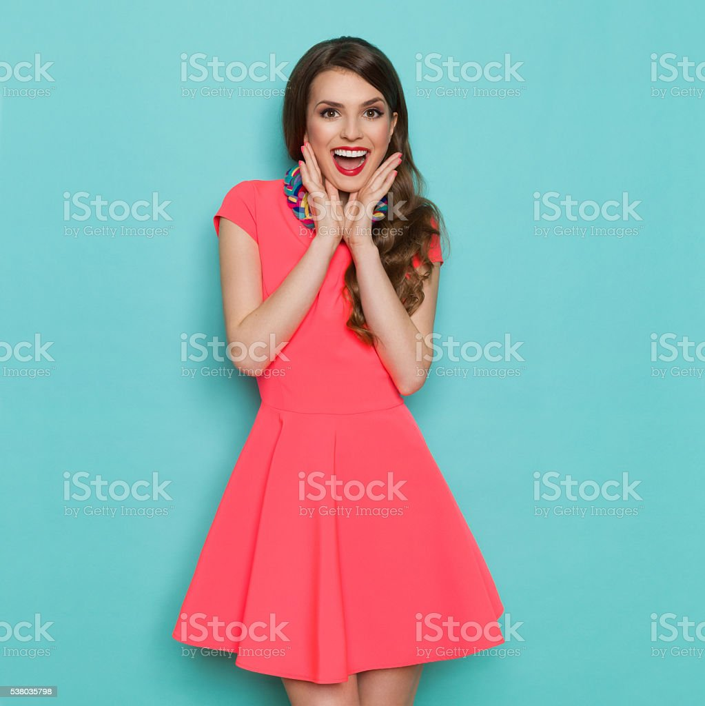 Excited Vibrant Fashion Girl stock photo