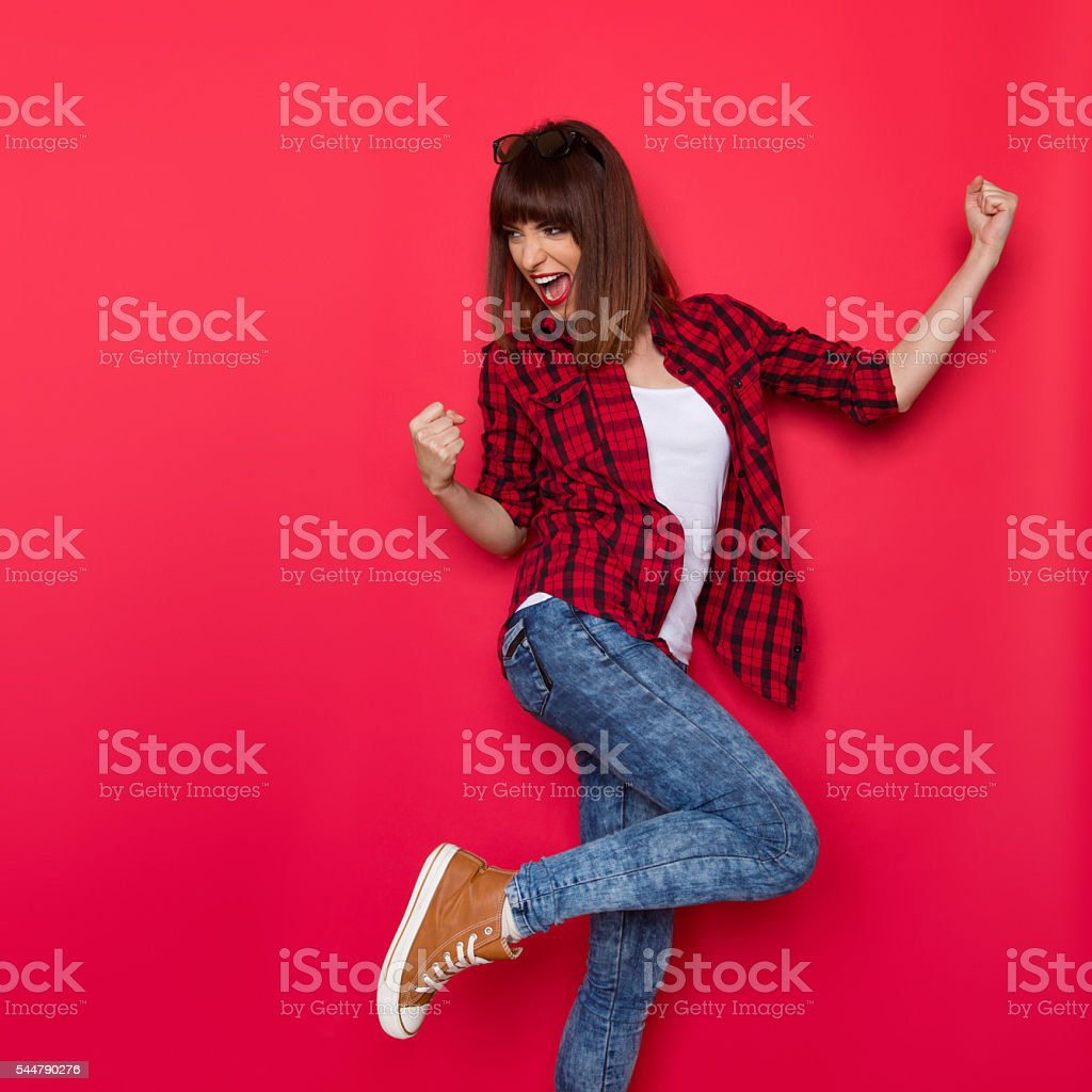 Excited Woman And Red Color stock photo