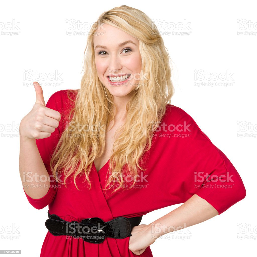 Excited Woman Gives Thumbs Up royalty-free stock photo