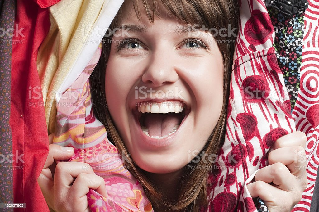 excited woman in different dresses stock photo
