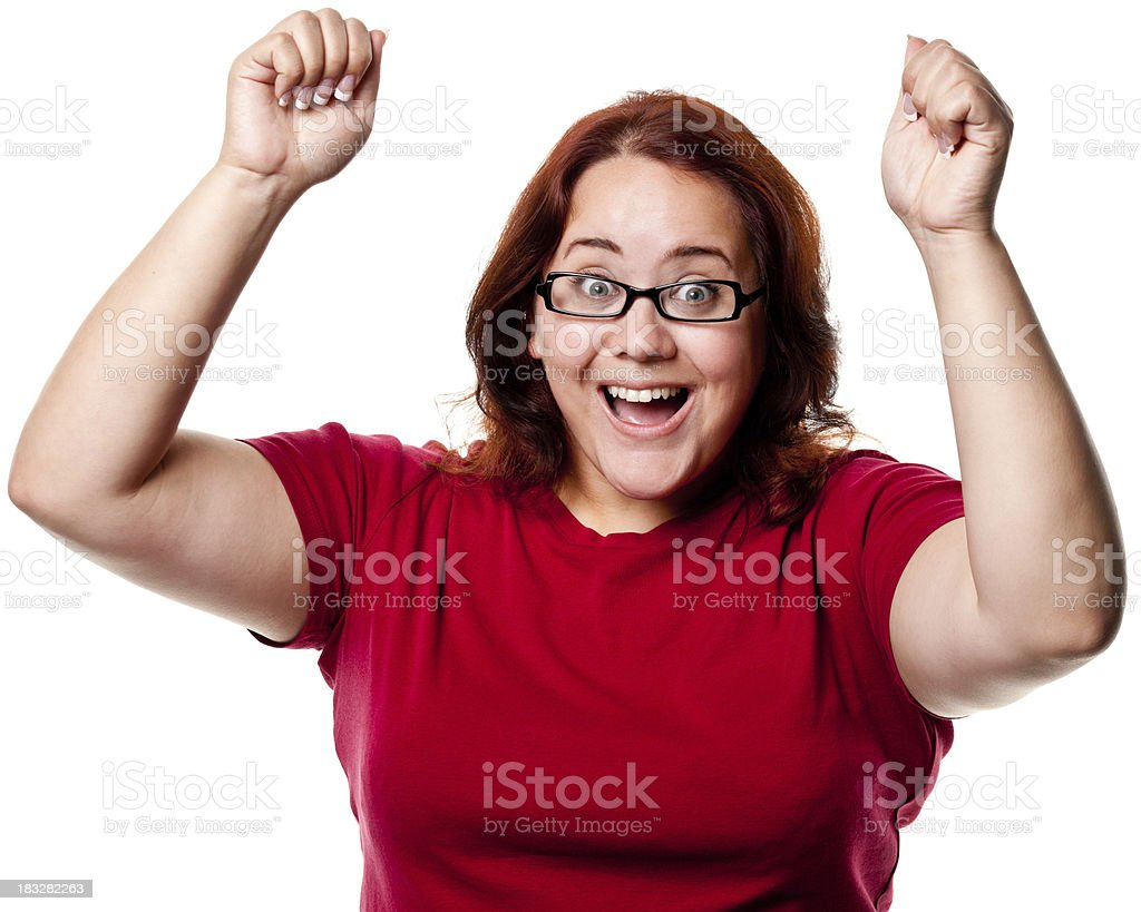Excited Woman Shaking Fists royalty-free stock photo