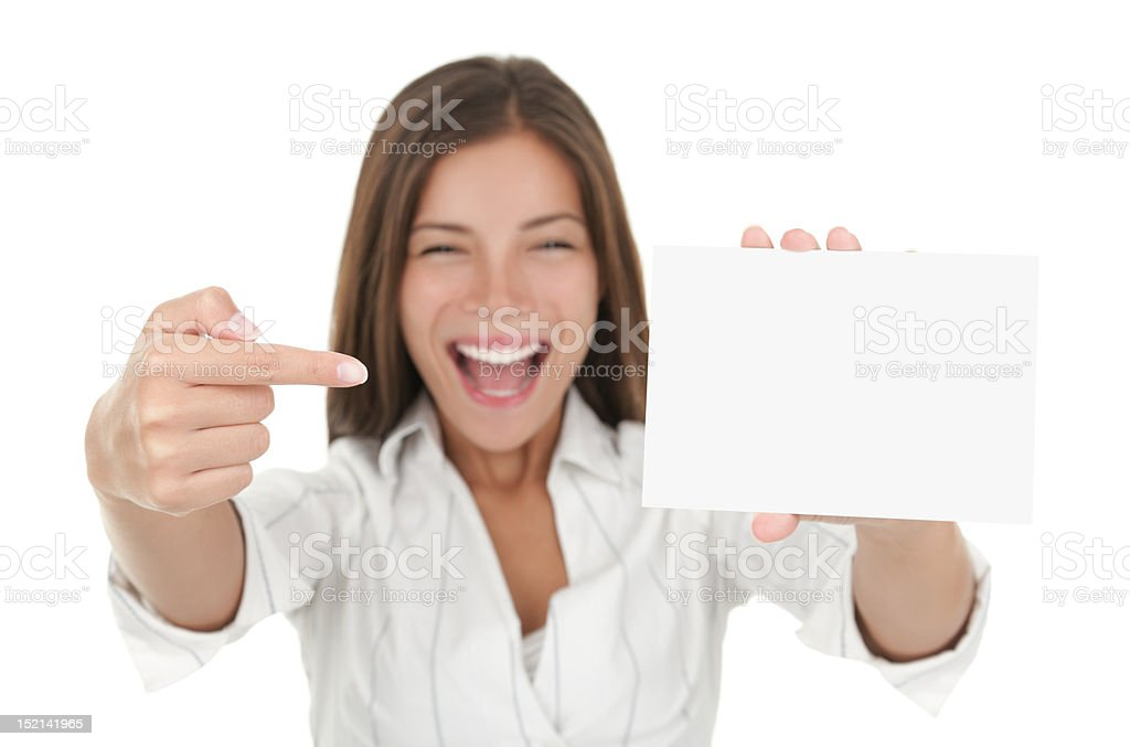Excited woman showing blank sign royalty-free stock photo