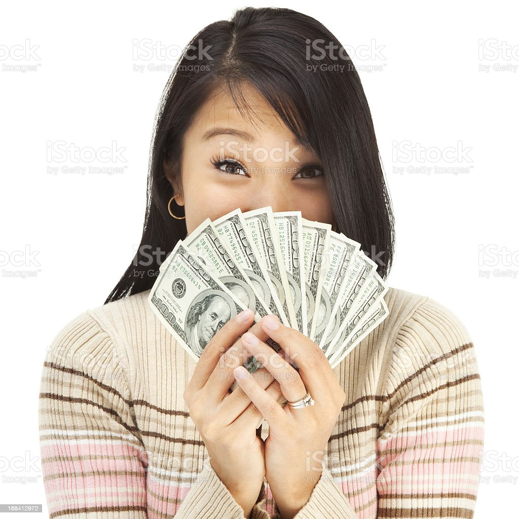 Excited Young Asian Woman Holding Cash Money royalty-free stock photo