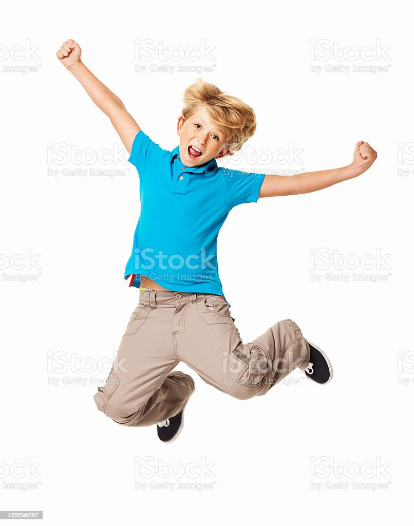 Excited Young Boy - Isolated stock photo