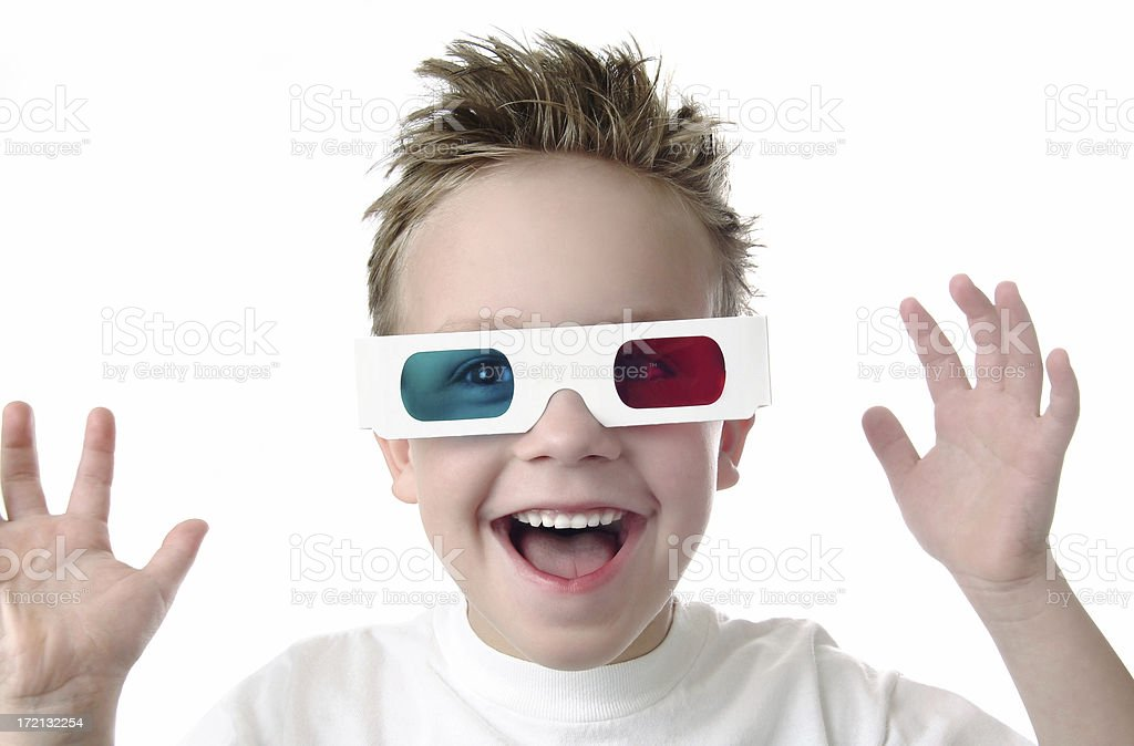 Excited Young Boy with 3D Glasses on a White Background royalty-free stock photo