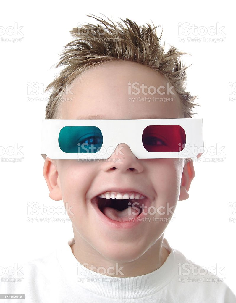 Excited Young Boy with 3D Glasses on White Background royalty-free stock photo