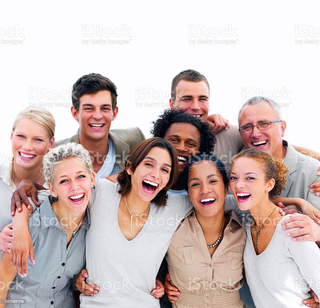 Excited young business people against white background stock photo
