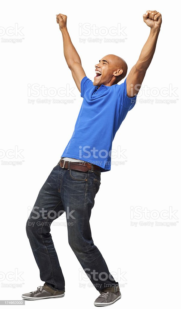 Excited Young Man - Isolated royalty-free stock photo